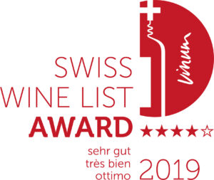 Red & white logo of Swiss Wine List Award 2019
